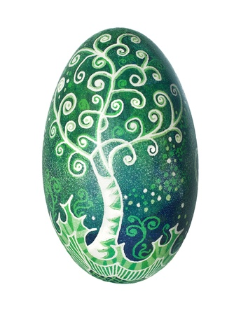 Colorful Ukrainian Easter Egg isolated on white