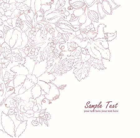 Vintage lines ornament sketch floral vector background