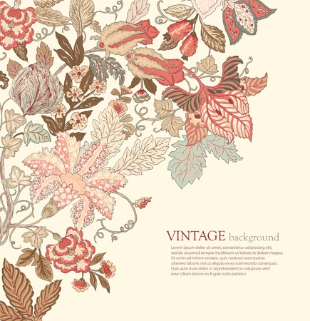 Stylish Vintage Floral Background in pastel tones Illustration