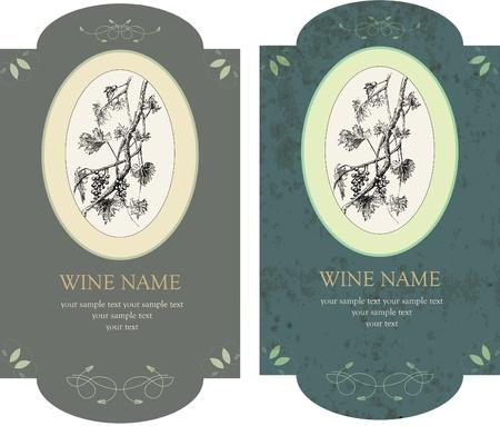 vector set of stylish vintage wine labels