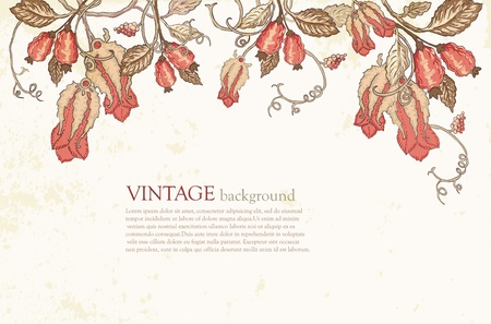 Beautiful Vintage Floral Background on textured paper