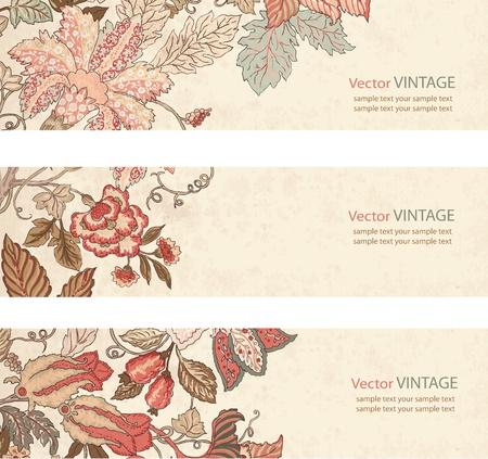 Vintage Floral banner set on textured paper