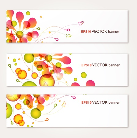 abstract floral colorful banners set vector design 일러스트