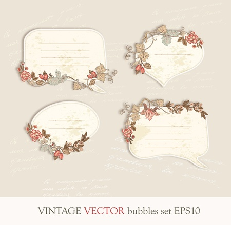 vintage flloral speech bubbles vector set illustration