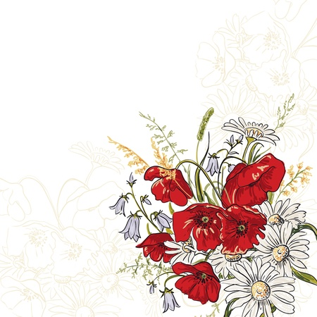 Elegance background with poppy and camomile flowers  in vintage style Vector