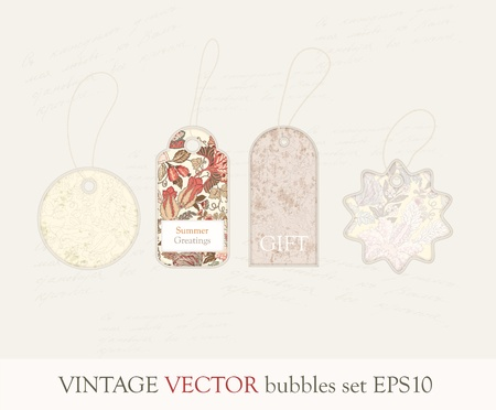 Collection of cute vintage style tags in pastel tones Illustration