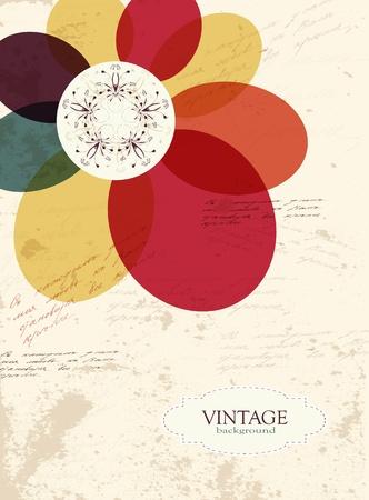 Vintage lorful flower grunge texture background