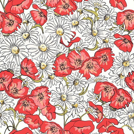 Excellent seamless pattern with poppies and camomiles Vector