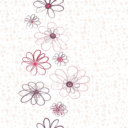 Seamless floral vertical pattern with pastel dots background  Vector