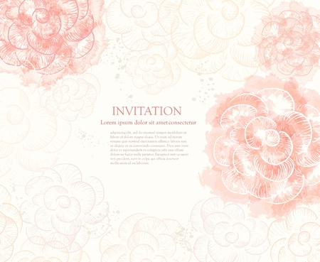 watercolor flower: Abstract romantic vector background in pink colors Illustration