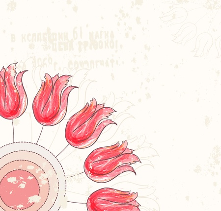 Floral background with tulips and grunge texture Illustration