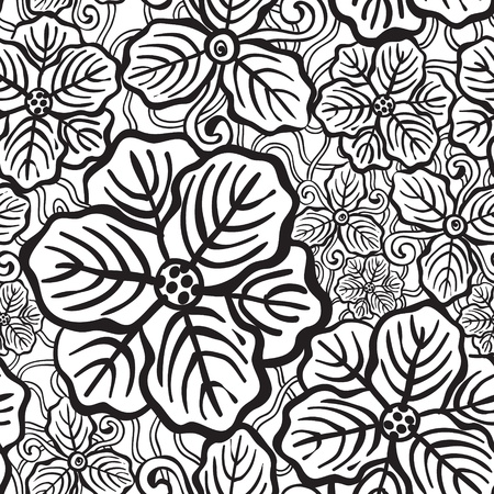 Hand drawn floral wallpaper with black and white flowers