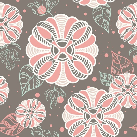 romantic abstract floral seamless texture with dots