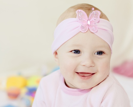 bright closeup portrait of adorable baby girl