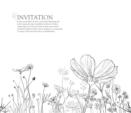 seamless floral horisontal border for invitation on white