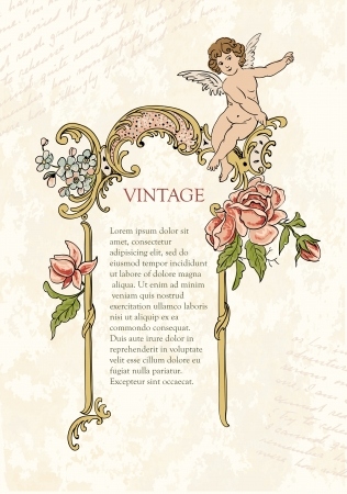 Retro design elements frame with flowers and angel