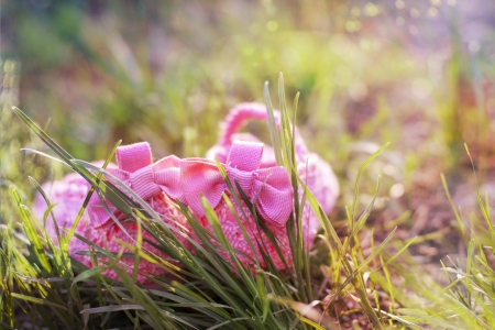 bright pink baby shoes on the green grass photo