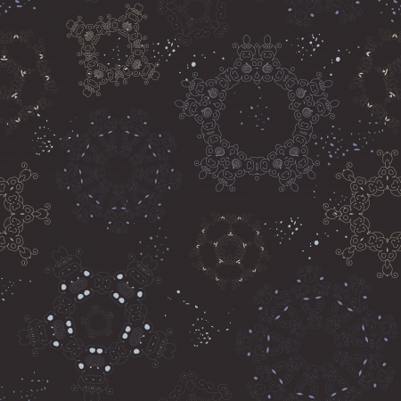 vintage seamless snow pattern on dark background