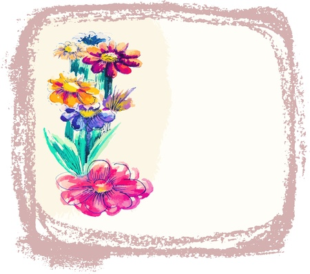 simple flower:  background with watercolor flowers