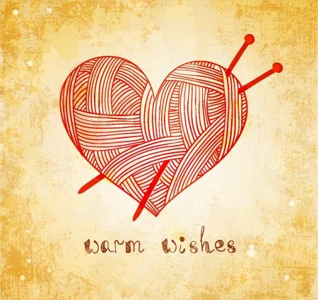 heart with knitting needle on grunge background Illustration