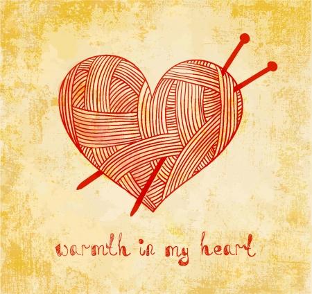 hilo rojo: coraz�n con tejido de punto aguja en el fondo del grunge Vectores