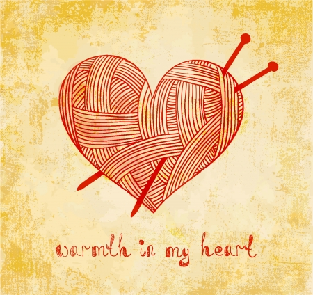 heart with knitting needle on grunge background Illustration