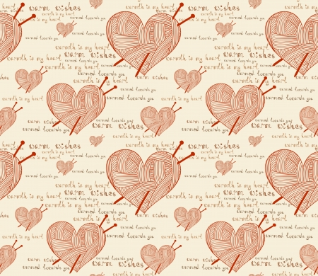 clew: clew heart with knitting needle seamless pattern