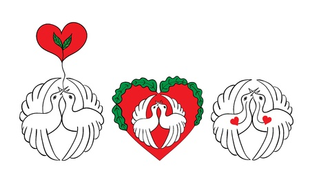 Crane with heart elements Stock Vector - 17147463
