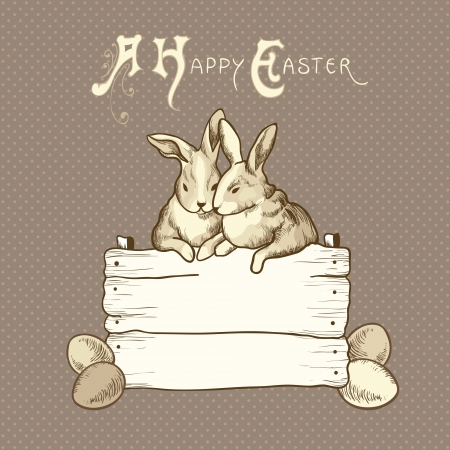 couple of easter rabbits on brown dots background Vector