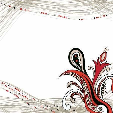 Flower ornament element on striped background Illustration