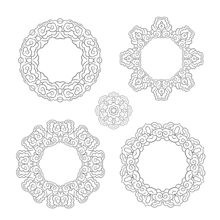 set of round ornament frames