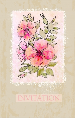 Vintage flower invitation card Vector