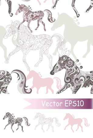 Seamless pattern with running horses photo