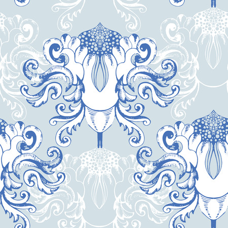 Winter seamless pattern with vintage ornament element photo