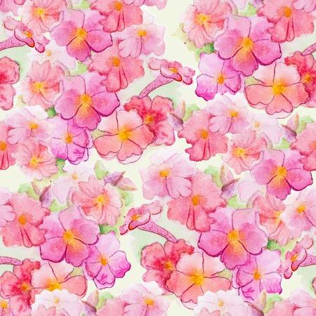 pink watercolour flower seamless pattern
