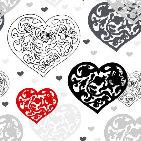 Black and white ornamental  hearts seamless pattern