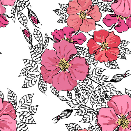 Vintage style graphic flower seamless pattern texture Illustration