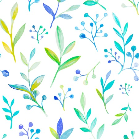 Bright floral watercolor natural seamless pattern texture