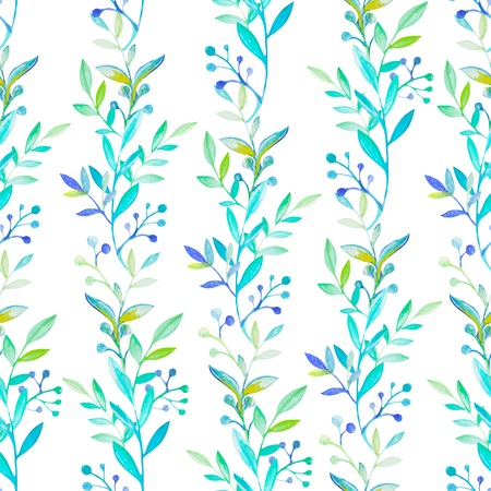 Bright floral watercolor natural seamless pattern texture Vector