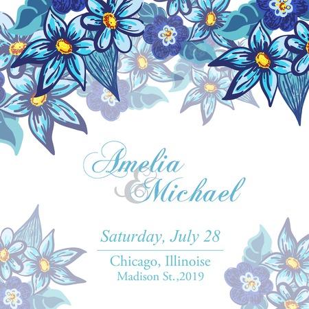 Tarjeta de invitación de boda con las flores azules Foto de archivo - 30256328