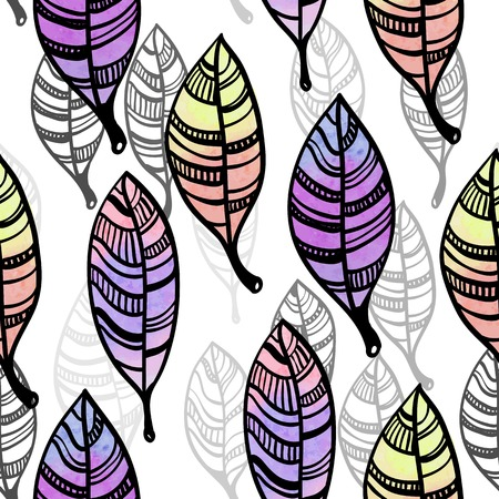 Watercolor stylized leaves seamless pattern Vector
