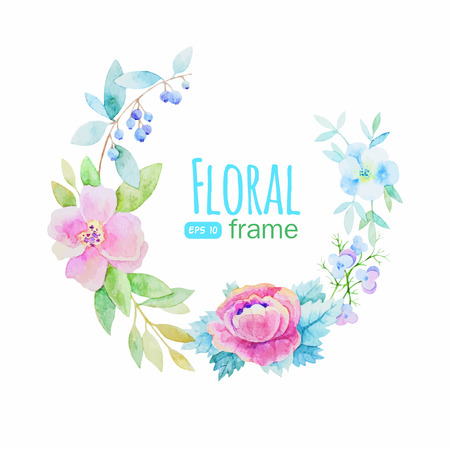 Vector flowers frame Çizim