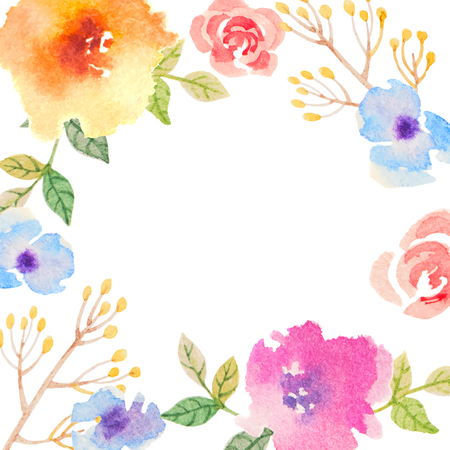 Einladungskarte für Hochzeit mit Aquarellblumen