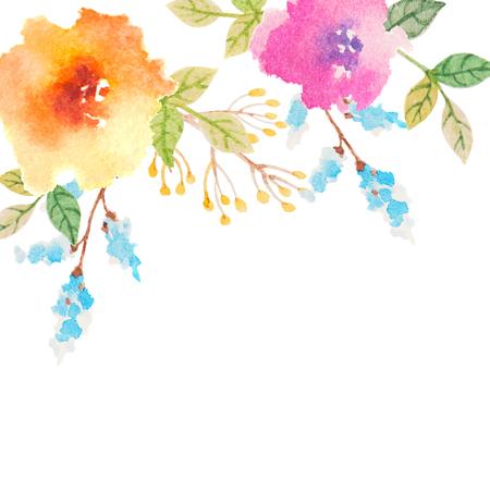 Einladungskarte für Hochzeit mit Aquarellblumen Standard-Bild - 38690562