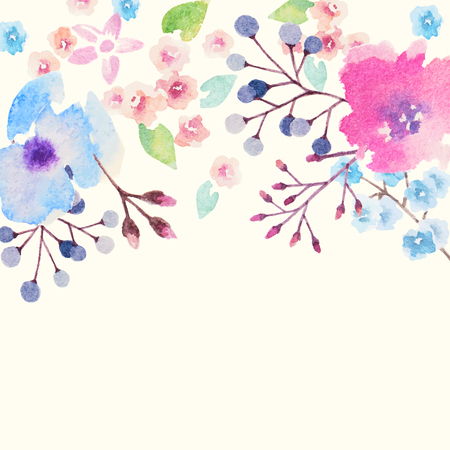 couleur: Carton d'invitation pour le mariage avec des fleurs à l'aquarelle