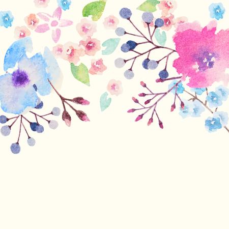 agua: Tarjeta de invitación para la boda con flores de la acuarela Vectores