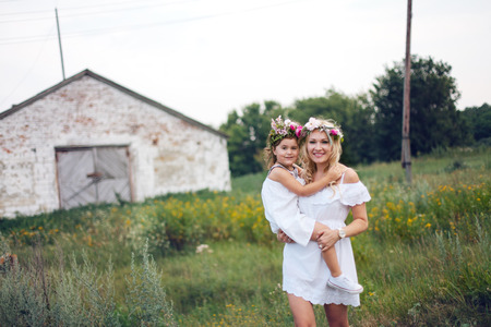 daugther: Mother and daugther spending time together at the nature Stock Photo