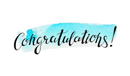 celebration: Congratulation banner with abstract watercolor stain on  background Illustration