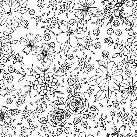 botanical gardens: Black and white detailed floral seamless pattern Illustration