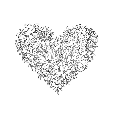 Black and white flower heart for invitation card
